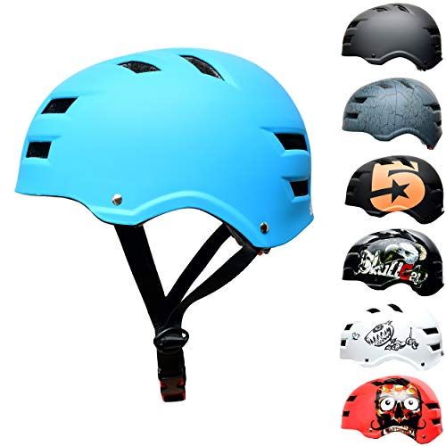 Skullcap® Skaterhelm Erwachsene hellblau Blue Ocean | Fahrradhelm Damen Herren ab 14 Jahre Größe L 58-61 cm | Scoot and Ride Helmet Adult Light Blue | Skater Helm für BMX Inliner Fahrrad Skateboard