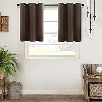 MRTREES Short Blackout Tier Curtains Coffee Brown Kitchen Tiers Room Darkening Cafe Curtains Bathroom 36 inches Long Small Window Treatment Set 2 Panels Grommet Top