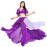 ROYAL SMEELA Belly Dance Costume Set for Women, Purple Belly Dancing Skirt One Size Belly Dance Dress, 3 Colors (Black, Purple, Pink)
