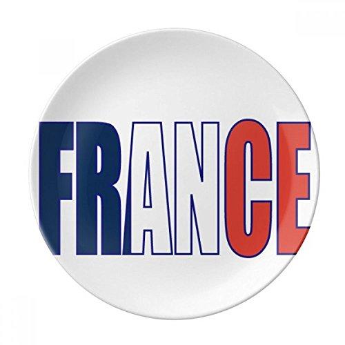 DIYthinker France Pays Nom Drapeau décoratif en Porcelaine Assiette à Dessert 8 Pouces Dîner Accueil Cadeau 21cm diamètre Multicolor