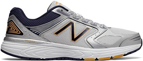 New Balance Men's 560v7 Cushioning Running Shoe, Silver/Navy, 7.5 4E US