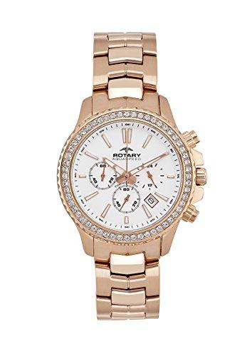 Rotary Damen-Armbanduhr Aquaspeed Chronograph Quarz Edelstahl beschichtet ALB00088/C/01