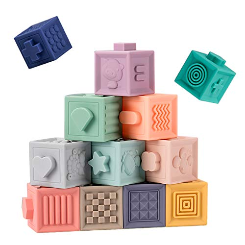 Baby Blocks Soft Building Stacking Blocks,Teething Chewing Squeeze Early Educational Toys with Number Animals Textures Fruits,Learning Math and Color Toy Gift for Boys and Girls