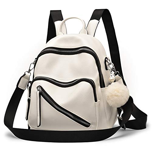 Mini Backpack Vegan Leather Women Backpack Fashion Shoulder Bag Cute Backpack Purse for Girls,White