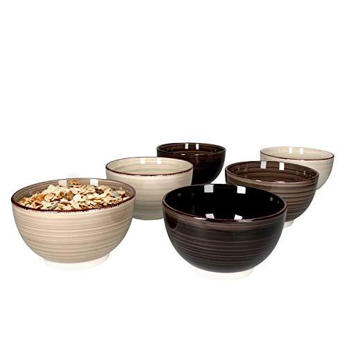 MamboCat Grey Baita 6er Set Müslischalen Grau-Töne I 600 ml I 6 Personen I Ø 14,2 cm I Schälchen, Bowl I Schüssel für Müsli, Salat, Dessert & Co. I Steingut-Geschirr