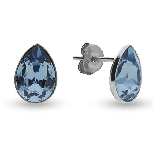 Spark, orecchini a gancio, da donna, con cristalli a goccia Swarovski, in argento sterling 925 e Argento, colore: Hellblau Aquamarin, cod. 33382