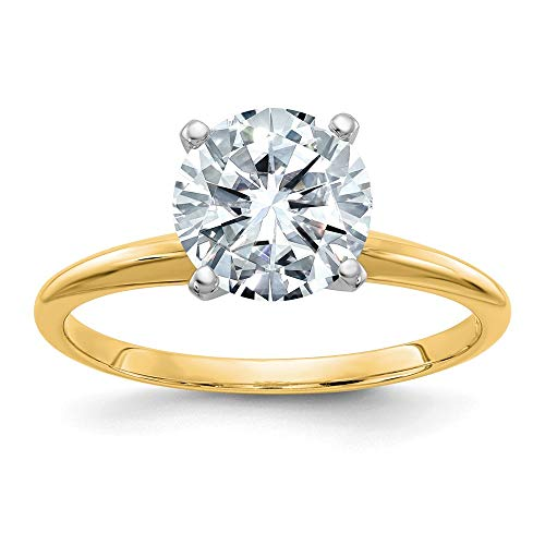 14k Yellow Gold 3.00ct. 9.5mm Round Colorless Moissanite Solitaire Band Ring Sz7 Size 7.00 Engagement Gsh Gshx Fine Jewellery For Women Gifts For Her