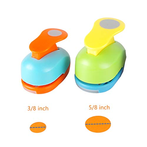 Circle Punch 3/8+5/8 inch Craft Lever Punch Handmade Paper Punch Candy Color by Random(Candy Circle)