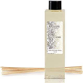LOVSPA Baltic Amber Reed Diffuser Oil Refill with Replacement Reed Sticks | Rich Amber Resin, Sandalwood & Soothing Musk with Light Citrus & Floral Notes, 4 oz | Made in The USA
