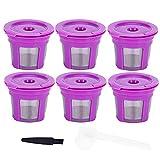 Cápsulas de café reutilizables Taza de cápsula de café recargable Juego de cucharas de cepillo de cápsula de café con tapa de corte para accesorio de café(6Pcs)