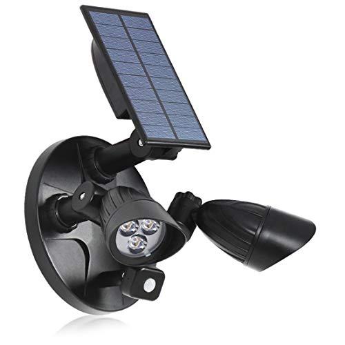 WRQING Luz de Inundación con Energía Solar, Luz de Seguridad con Sensor de Movimiento 2 Cabezales de Lámpara Giratorios IP65 Impermeable para Puerta de Entrada Patio Jardín (Color : Black)