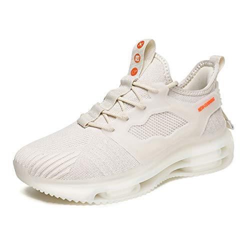 Magnifier Zapatillas de Deporte para Hombre Moda Zapatillas Deportivas Ligeras y Transpirables Tenis Zapatos Casuales para Caminar,Blanco,41