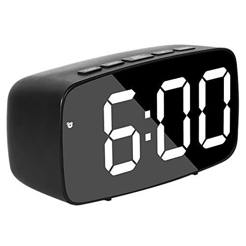 wivarra Reloj Despertador Digital Inteligentede la Cabecera, Reloj de Escritorio USB de Viaje LED Blanco con RepeticióN Temperatura Fecha 12 / 24H para Dormitorio, Negro