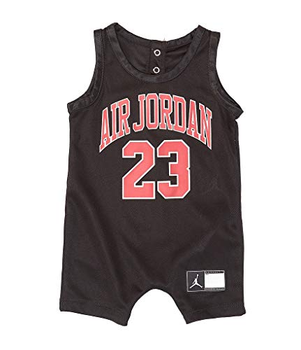 Jordan Baby Boys Mesh Jersey Romper (Black(656169-023)/Red, 12 Months)