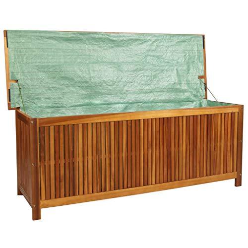 Tidyard Aufbewahrungsbox Auflagenbox aus Holz Mit Wasserfestem Futter,150 x 50 x 58 cm, Gartentruhe Gerätebox GartentruheTruhe Kissen Box,Kissenbox Stauraum für den Außenbereich,Akazien-Massivholz