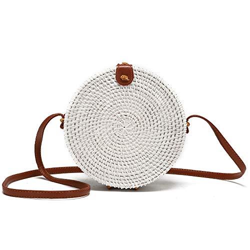 Bolsa de mimbre redonda tejida a mano para mujer con correa de piel cruzada, Multi color (Blanco), talla única