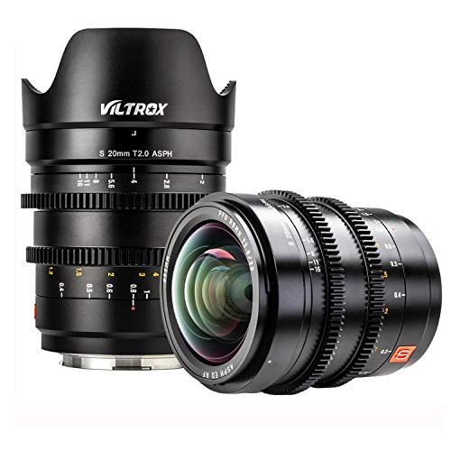 VILTROX S 20mm T2.0 ASPH Vollformat Objektiv Videoaufnahmen Cinema Camera Lens manueller Fokus für L-Mount Kamera SL/SL2 Panasonic S1 S1R S1H