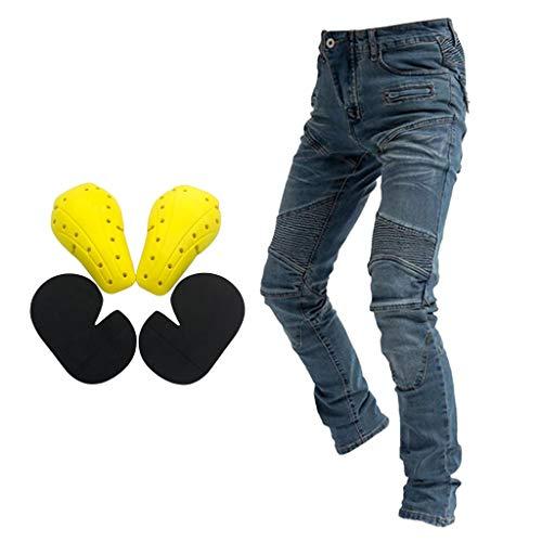 XXXL- Waist 40 Hombre Motocicleta Pantalones Moto Jeans Con Motorcycle Biker Pants Negro
