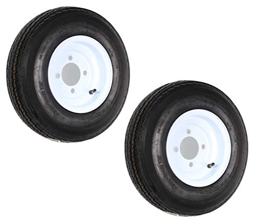 2-Pk Trailer Tires On White Wheel Rims 480-8 4.80-8 4.80 x 8 LRC 4 Lug On 4 in.