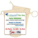 EcoPeaceful 2 Pack - 6'x10' Organic Cotton Cold Brew Coffee Bags - Nut Milk, Celery Juice Extra Fine Filter Strainer w/Drawstring & Silicone Band Closure. Reusable, Unbleached, BPA-free, Safe to Boil
