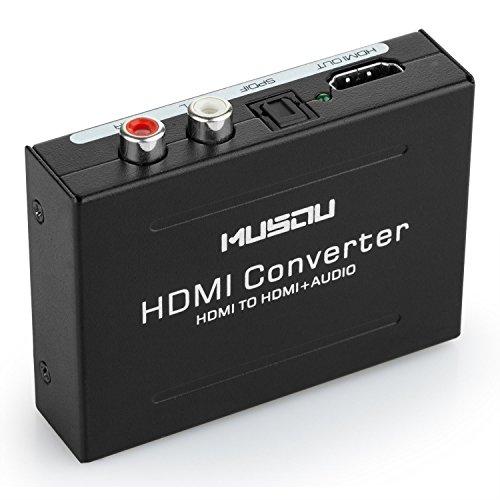 Musou HDMI Audio Extractor, HDMI a HDMI vídeo Adaptador+ R/L(RCA) SPDIF Toslink Audio DAC Convertidor para PS3 PS4 BLU-Ray DVD Xbox TV