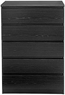 Pemberly Row 5 Drawer Chest in Black Woodgrain