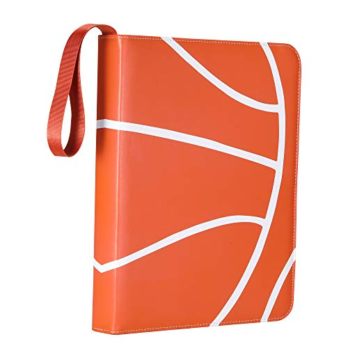 D DACCKIT Basketball Zippered Binder Compatible with Trading Cards - Holds Up to 540 Cards - Card Collectors Album with 30 Premium 9-Pocket Pages