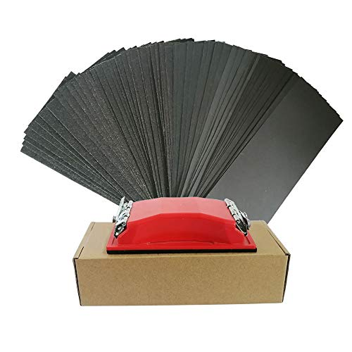 Sander Sheets 80 to 800 Grit Sandpapers with Sanding Block Sander, 9х3.6 Inch Wet Dry Waterproof Sandpaper for Wood Furniture Finishing Automotive Metal Polishing,50 Sheets