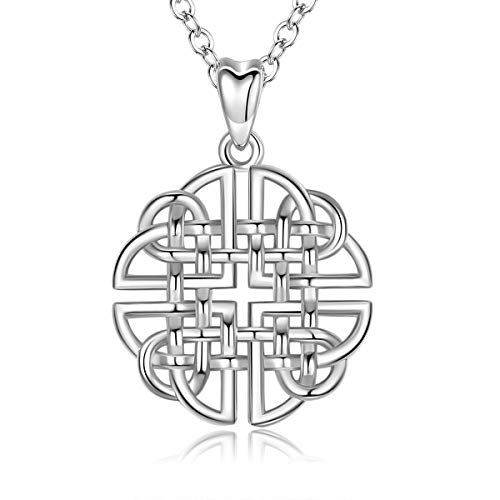 INFUSEU Sterling Silver Celtic Knot Pendant Necklace Irish Dara Charm Jewelry for Women Ladies Neckless