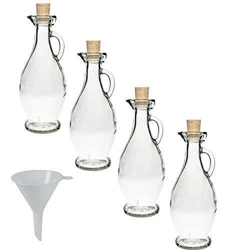 Viva Haushaltswaren - 4 x Glasflasche 250 ml mit Korkverschluss & Henkel, formschönes Gläser Set als Ölflasche, Schnapsflasche & Likörflasche etc. verwendbar (inkl. Trichter Ø 7 cm)
