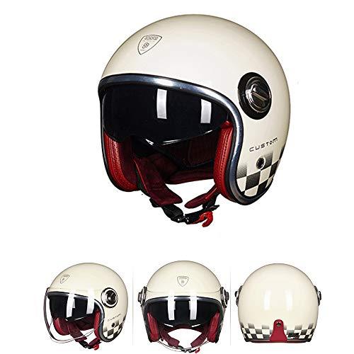 Casco de Cara Abierta 3/4 Motocicleta Bobber Custom Cafe Racer Ligero