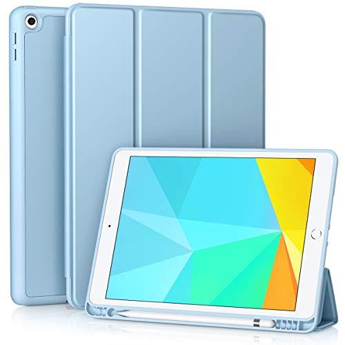 Vobafe Funda Compatible con Nuevo iPad 8ª Generación 2020/ iPad 7ª Generación 2019, Plegable Soporte Protectora TPU Cubierta con Portalápiz para iPad 10.2', Auto-Sueño/Estela Azul Claro