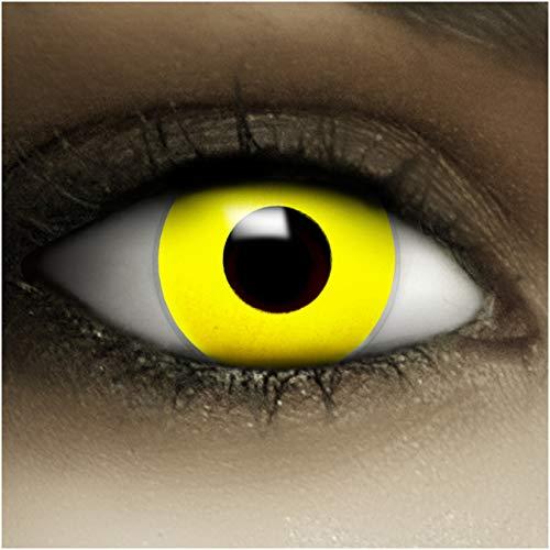 Farbige Kontaktlinsen ohne Stärke Gelb + Kunstblut Kapseln + Kontaktlinsenbehälter, weich ohne Sehstaerke in yellow, 1 Paar Linsen (2 Stück)