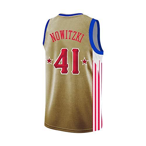 Dirk Werner Nowitzki # 41, NBA Basketball Trikot Für Herren, Retro Basketballtrikot Swingman Jersey, Gym Weste Sport T-Shirt, S-XXL, Z256MK (Size : S)
