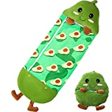 """RiscaWin Kids Flannel Sleeping Bag with Pillow Toddler Nap Mat and Wearable Blanket for Boys or Girls Preschool Daycare (Avocado, 54"""" x 20"""")"""