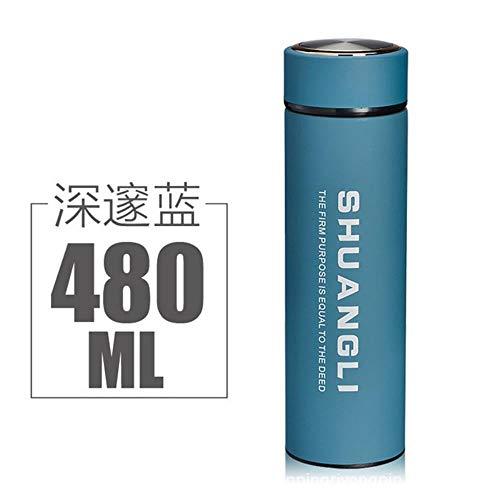 Los fabricantes venden al por mayor los productos promocionales personalizados de Yafeng al vacío de la oficina de acero inoxidable con escarcha taza promocionales logotipo personalizado-500 ml, azul