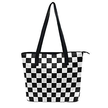 NiYoung Fashion Elegant Tote Bag for Women Girls Waterproof Zipper Shoulder Bag Purse Large Capacity Travel Shopping Daily Work Tote Shoulder Bag  Race Waving Checkered Flag
