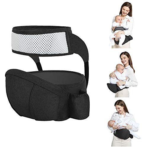 Hip Seat Baby Carrier with Safety Belt Protection Multifunctional Soft Ergonomic Waist Stool, Light Weight and Labor Saving Front Carrier Belt for Toddler Black
