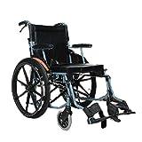 SPAQG Leichter Transportrollstuhl mit Handbremse, Klapprollstuhl, mit Feststellbremse, 18,1-Zoll-Sitz, Kann im Freien verwendet Werden -