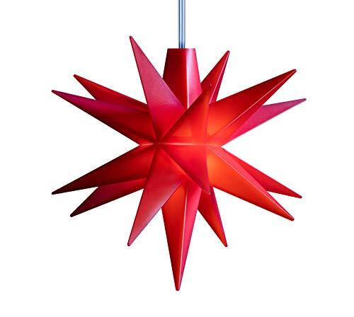 3D LED Stern Ø 8 cm Weihnachtsstern Batterie Ministern Innen Kunststoff Stern klein Leuchtstern Deko für innen Indoor von Dekowelt (Rot)