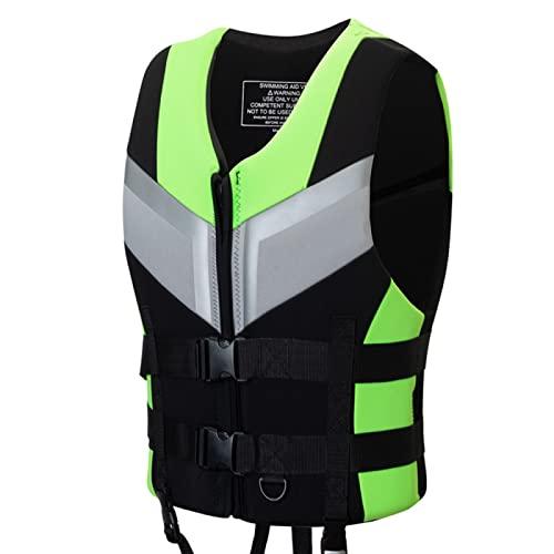 ZHENGRUI Adultos Chalecos Salvavidas,Dispositivo Flotación Personal Accesorios Deportes Acuáticos Vela Surf Pesca Kayak Niños Canotaje,Green-M