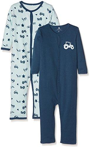 NAME IT Baby Jungen NMMNIGHTSUIT 2P NOOS Schlafstrampler, Mehrfarbig (Ensign Blue), 92 (2er Pack)