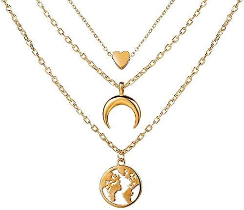 ZQMC Collar Multi Layer Lock Colgantes Collares para Mujeres Oro Metal Llave Collar de corazón Regalo de la joyería