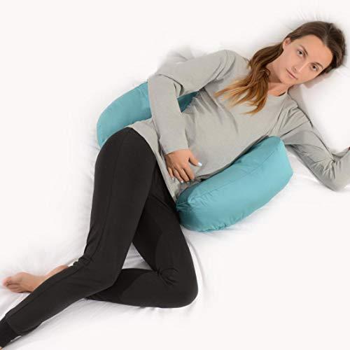 Siminzich Almohada de cuña para embarazo, almohada de maternidad para dormir de lado, en forma de C, almohada para embarazo, para espalda, vientre, soporte para rodillas