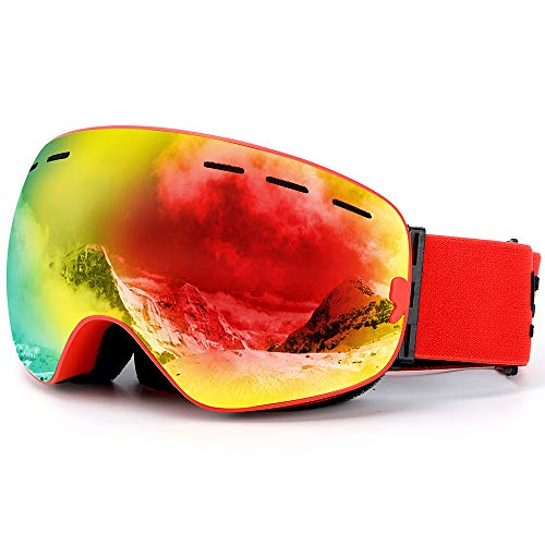 ZXPAG Ski Goggles Skibril Over bril met Anti-Fog Sferische Dual Interchangable Lens,100% UV400 Protection Helm Compatibel,Anti Glare,Impact Resistant -