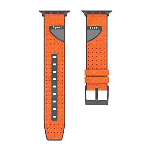 CMXXFA 2021 cuero de fibra de carbono y correa de silicona para Appe Watch SE Band Series 6 5 4 3 2 pulsera deportiva 40 mm, 44 mm, 38 mm, 42 mm (color de la correa: naranja, ancho de la correa: 38 mm