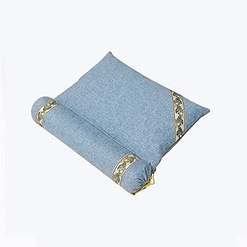 Almohada cervical de semilla de casia de trigo sarraceno y ayuda para dormir de la columna cervical cilindro especial de ajenjo para dormir (núcleo de almohada + juego de dos piezas de cilindro)
