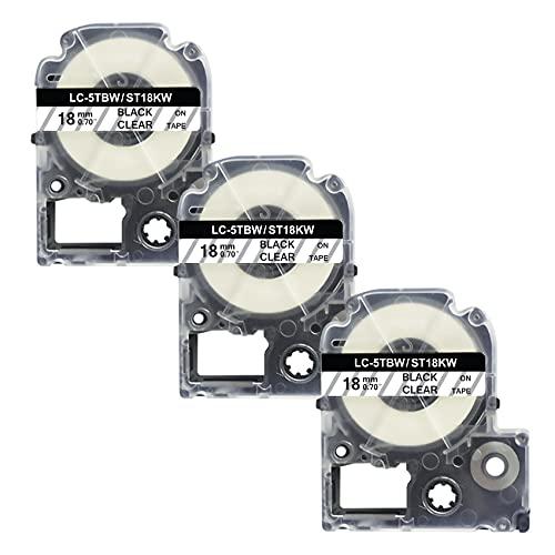 18MM 互換キングジム テプラPRO テープカートリッジ ST18KW 透明地黑文字 対応型番 SR606 SR404 SR707 3個セット 8M
