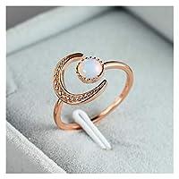 リング 女性の小さなムーンストーン開かれた調節可能なリングの銀色の花の婚約リングビンテージジルコンの石の結婚指輪 結婚指輪 (Main Stone Color : Rose Gold Color, Ring Size : Resizable)