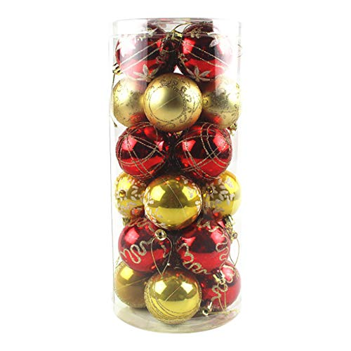 Christmas Fall Decor for Home Ceiling Ball Frosted Light Hanging Ball Gift Box, Decoration & Hangs 摆件&挂件 for Christmas (Red,Gold)
